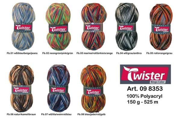 Twister, Bingo Color, Farbkarte